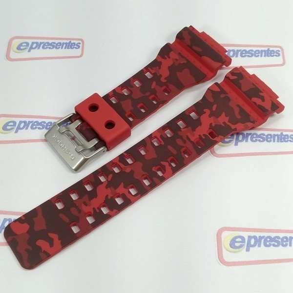 Pulseira Casio G-shock Camuflado Vermelho Ga-100 Cm Original  - E-Presentes