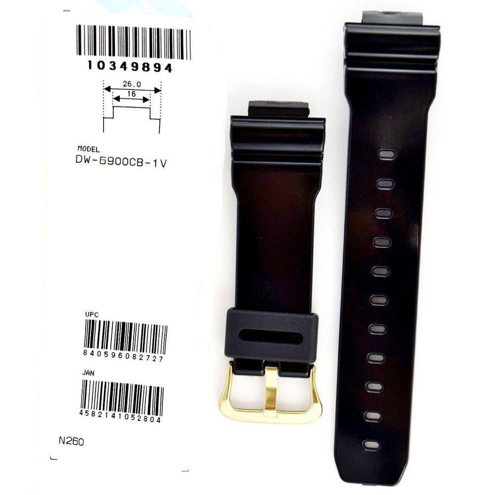 Pulseira Casio G-shock DW-6900CB-1 Preto Verniz Fivela Dourada *  - E-Presentes