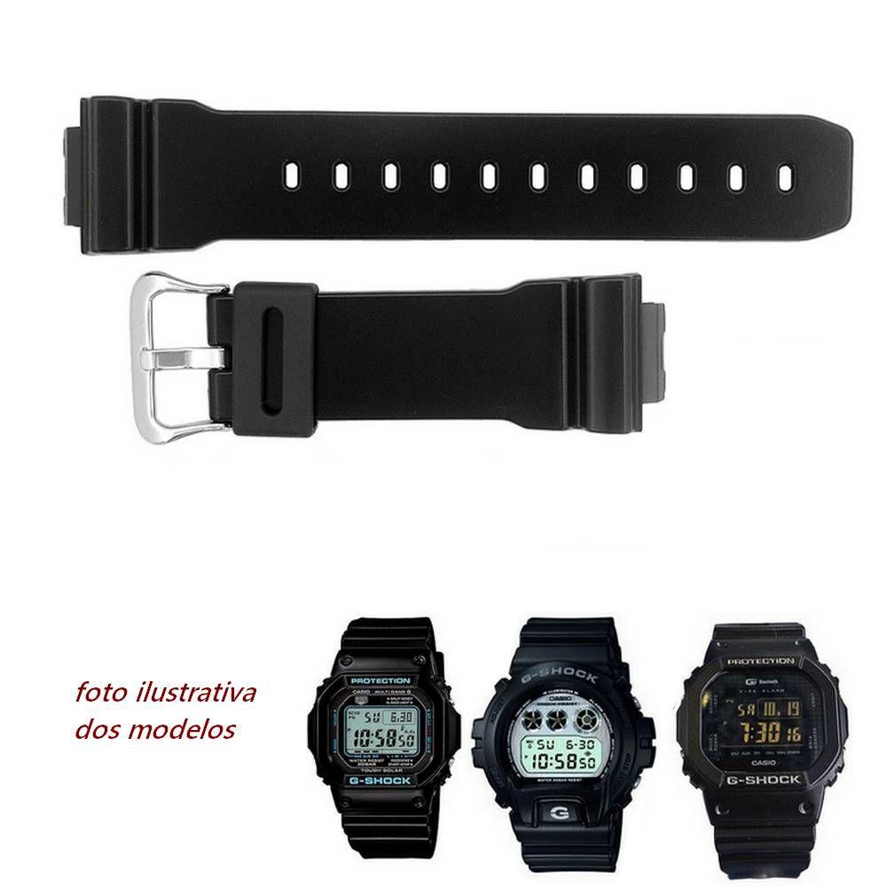 Pulseira Casio G-shock DW-6900HM-1, DW-6900PL-1, GB-5600B-1B, GB-6900B-1B,  GW-M5610BA-1, GW-M5610LY-1 Preto Semi Brilho   - E-Presentes