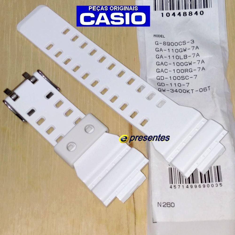 Pulseira Casio G-shock G-8900CS-3 GA-110GW-7A  GA-110LB-7A GAC-100GW-7A GAC-100RG-7A GD-110-7 QW-3400KT-06T  Branca Brilhante  - E-Presentes