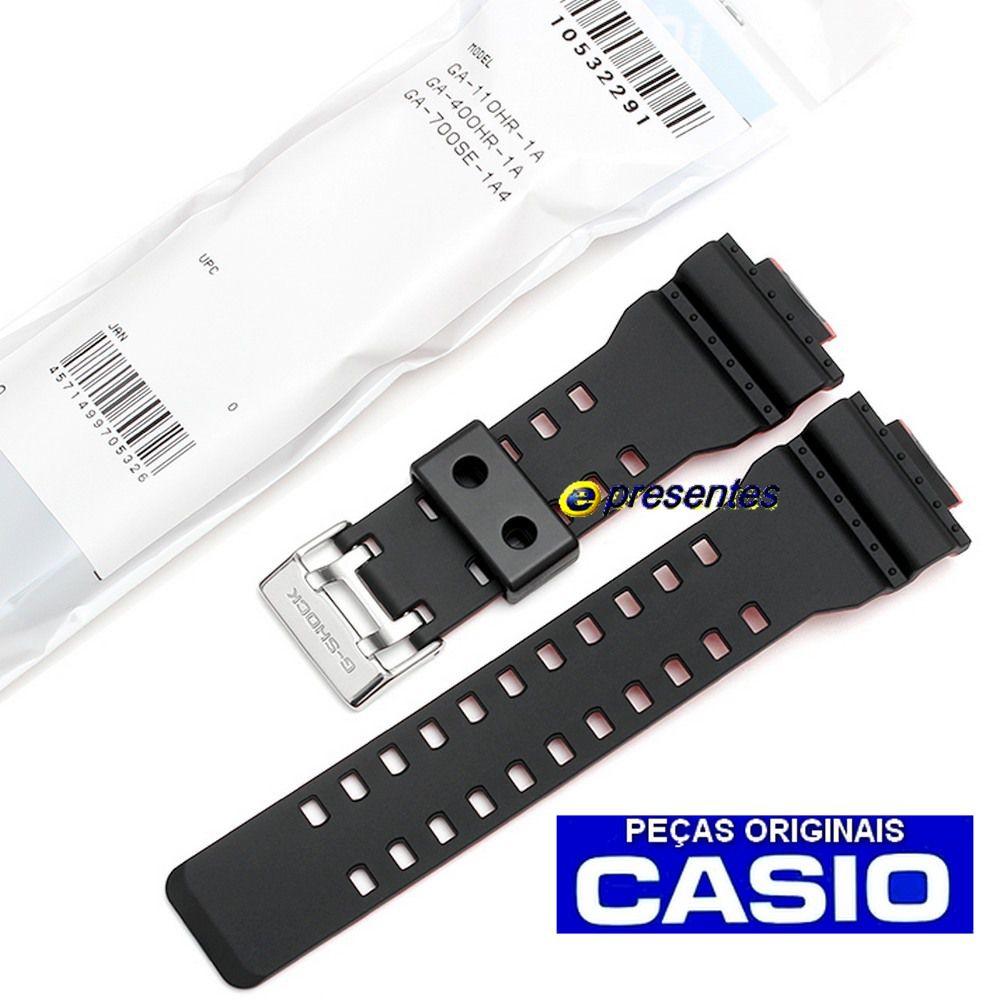 Pulseira Casio G-shock GA-700SE-1A4 GA-400HR-1A  GA-110HR-1A Preto e Vermelho - Peça 100% Original  - E-Presentes