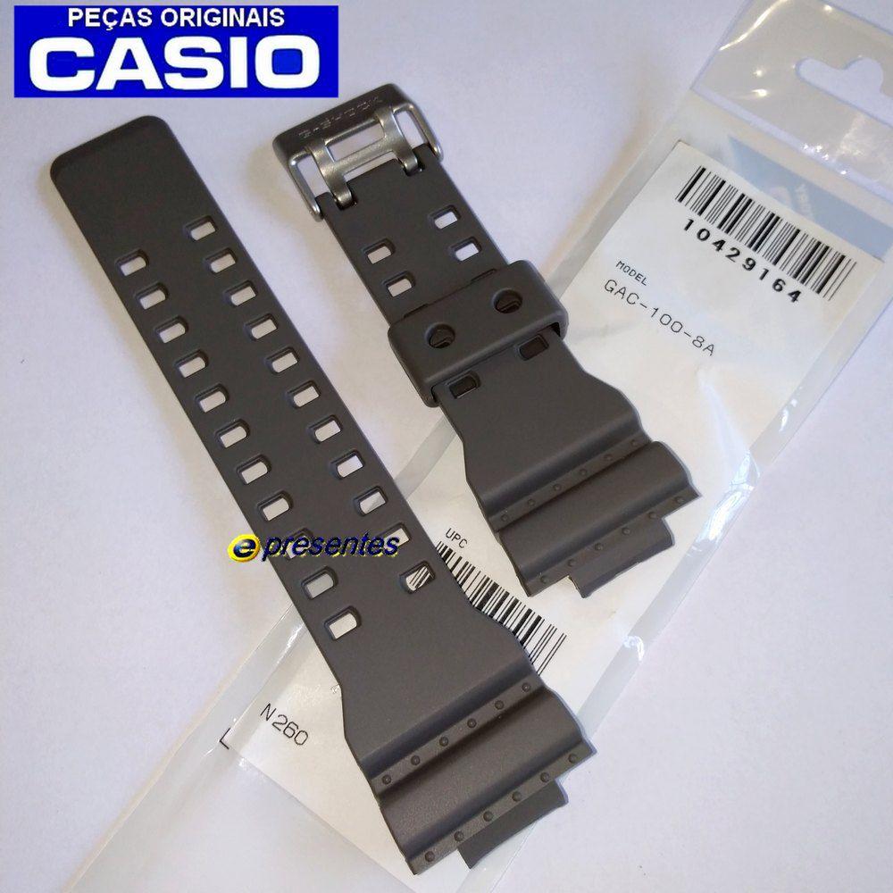 Pulseira Casio G-shock Gac-100-8a Cinza - 100% Orginal  - E-Presentes