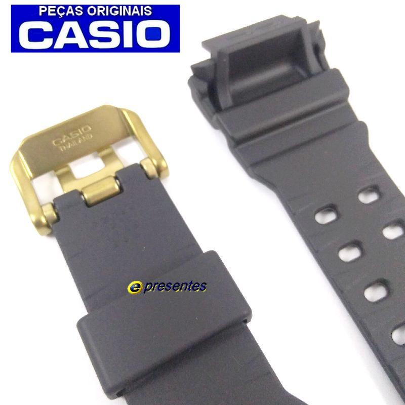 Pulseira Casio G-shock GWX-56GB-1 Resina Preto Fosco Fivela Dourada  - E-Presentes