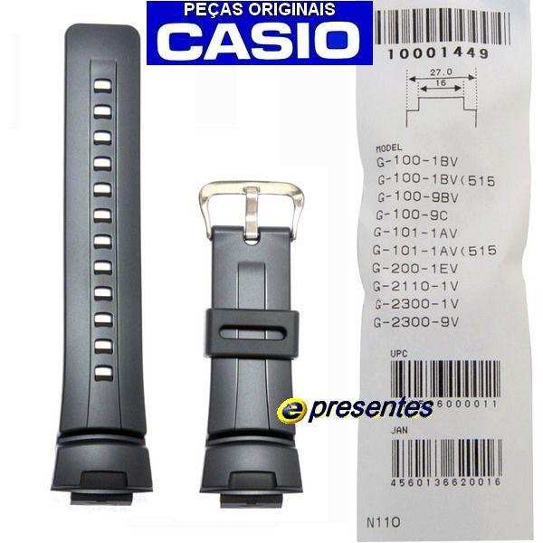 Pulseira Preta Casio G-shock  G-100 G-101 G-200 G-2110 G-2400 GW-2300 GW-2310 - 100% Original  - E-Presentes