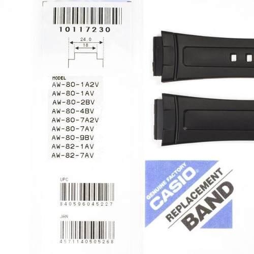 Pulseira Casio + Par de pinos Retrateis AW-80, AW-82 Resina Preta  - E-Presentes