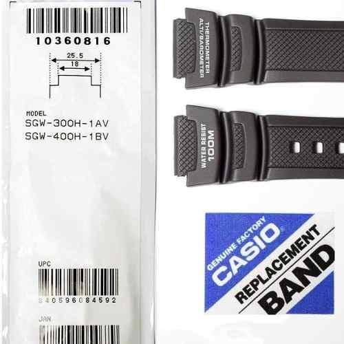 Pulseira Casio + Par de pinos  Sgw-300h Sgw-400h Resina Preta  - E-Presentes