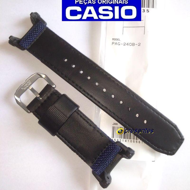 Pulseira Casio Pathfinder PAG-240B-2 tecido e Couro *  - E-Presentes