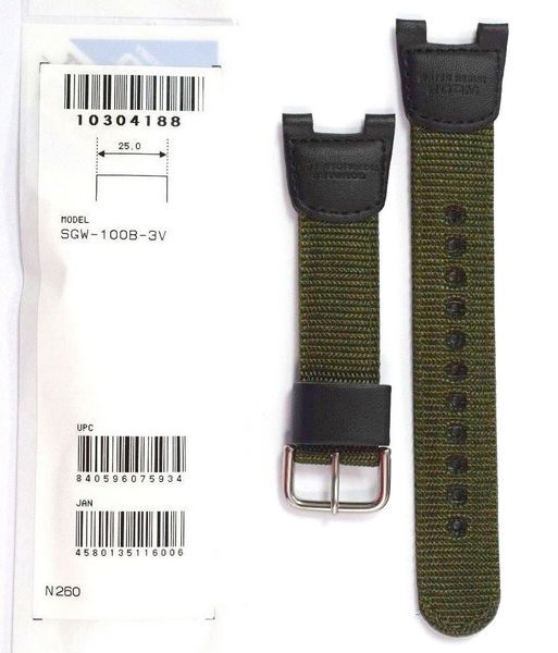 Pulseira Casio Sgw-100B-3V TECIDO NYLON E COURO VERDE - 100% OriginaL  - E-Presentes