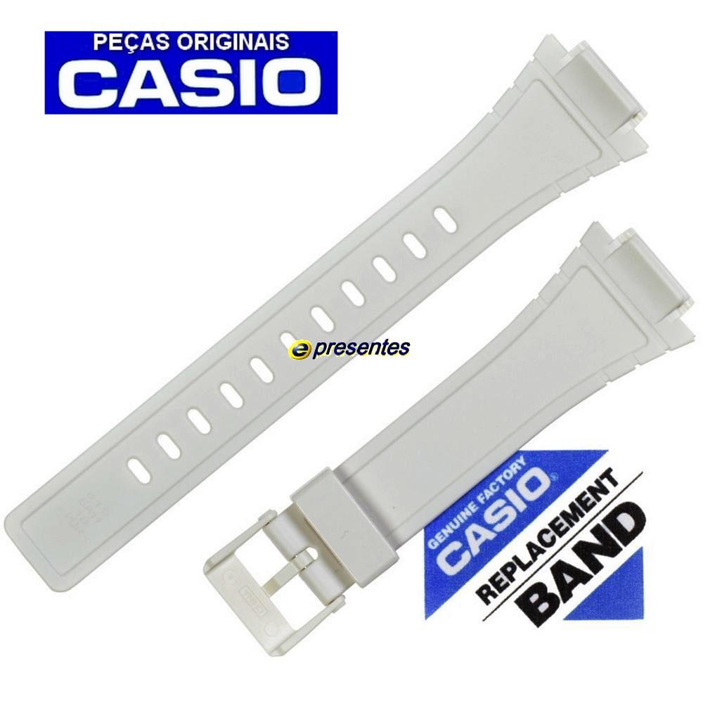 Pulseira Casio W-215H-7A Resina Branca * 100% Original   - E-Presentes