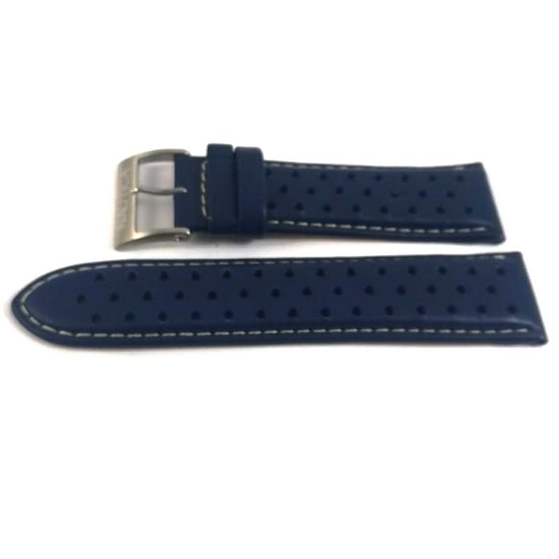 Pulseira De Couro Azul 24mm Náutica 95077-3  - E-Presentes