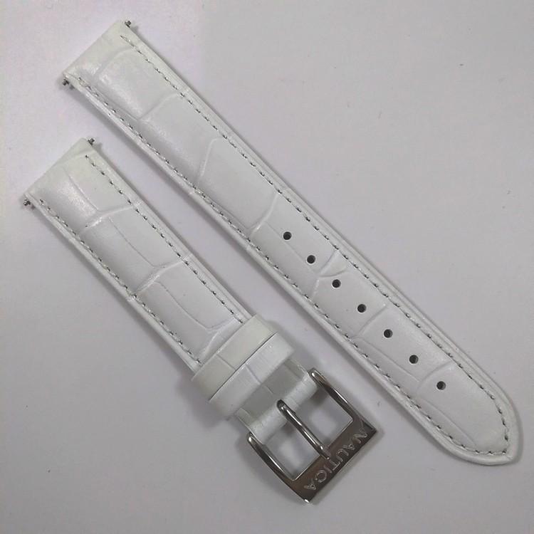 Pulseira De Couro Legítimo Branca 18mm Náutica 95126-3  - E-Presentes