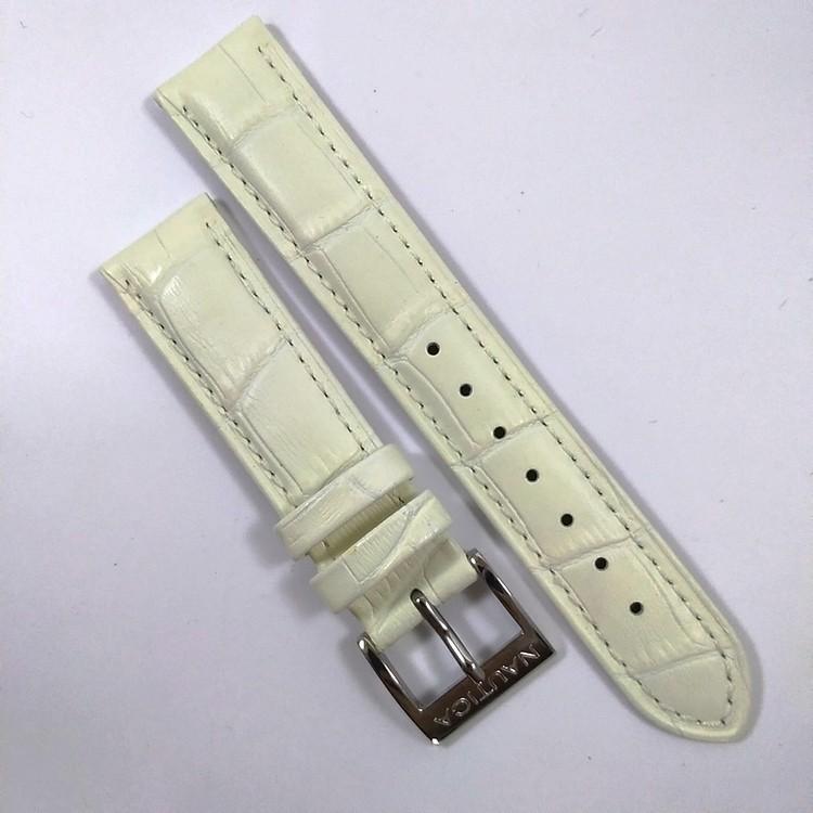 Pulseira De Couro Legítimo Branca 18mm Náutica A12592M  - E-Presentes