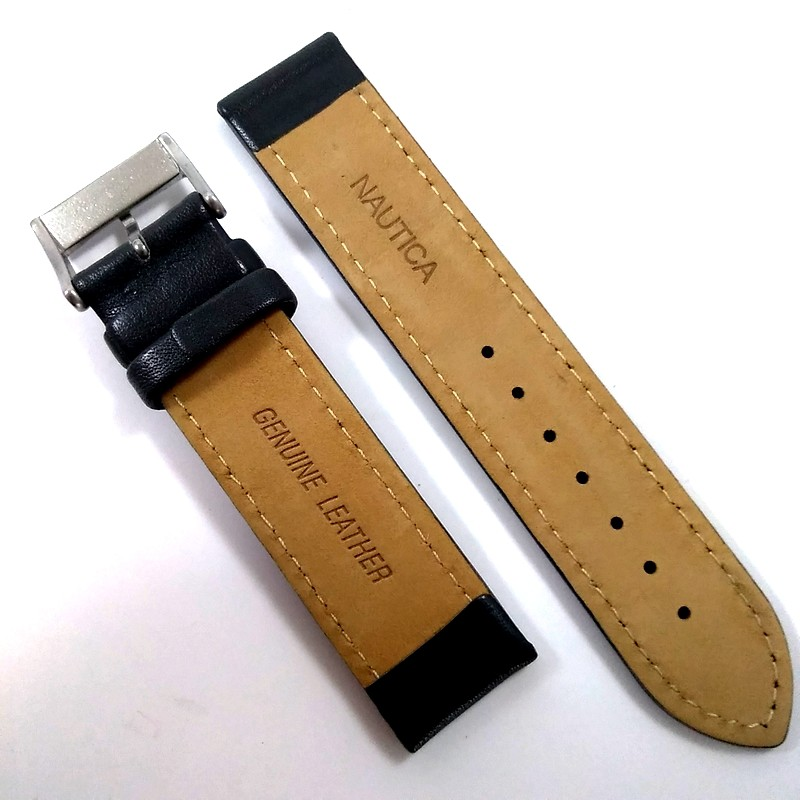 Pulseira De Couro Legítimo Cinza 18mm Náutica 95071-1  - E-Presentes