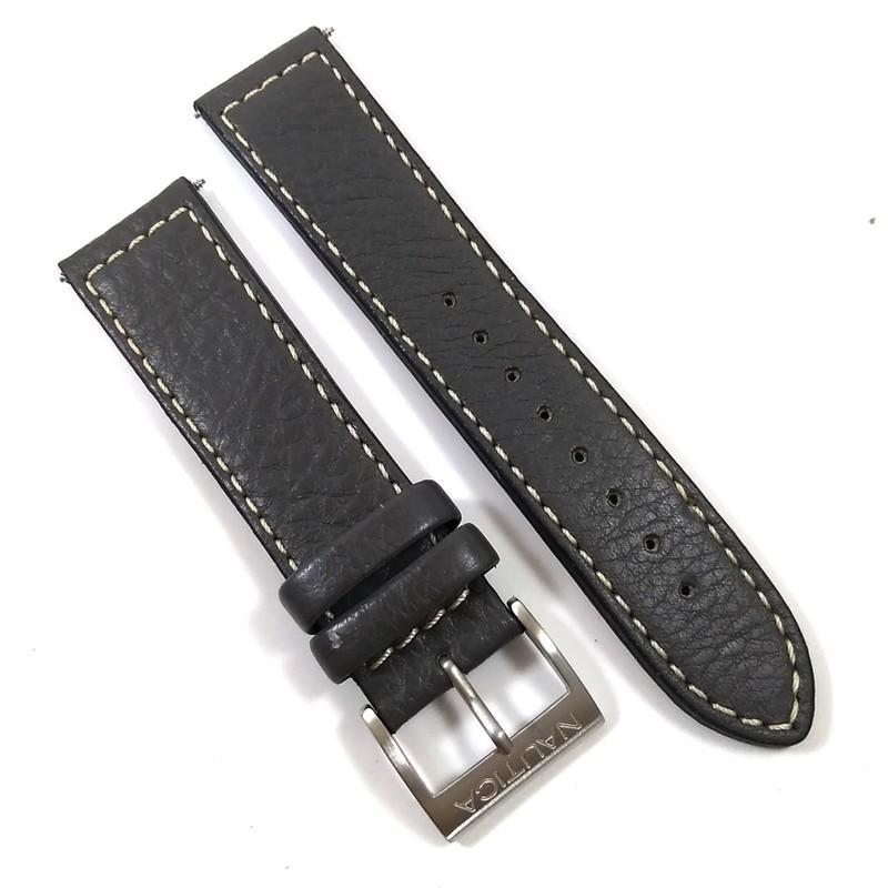 Pulseira De Couro Legítimo Cinza 22mm Náutica 95093-5  - E-Presentes