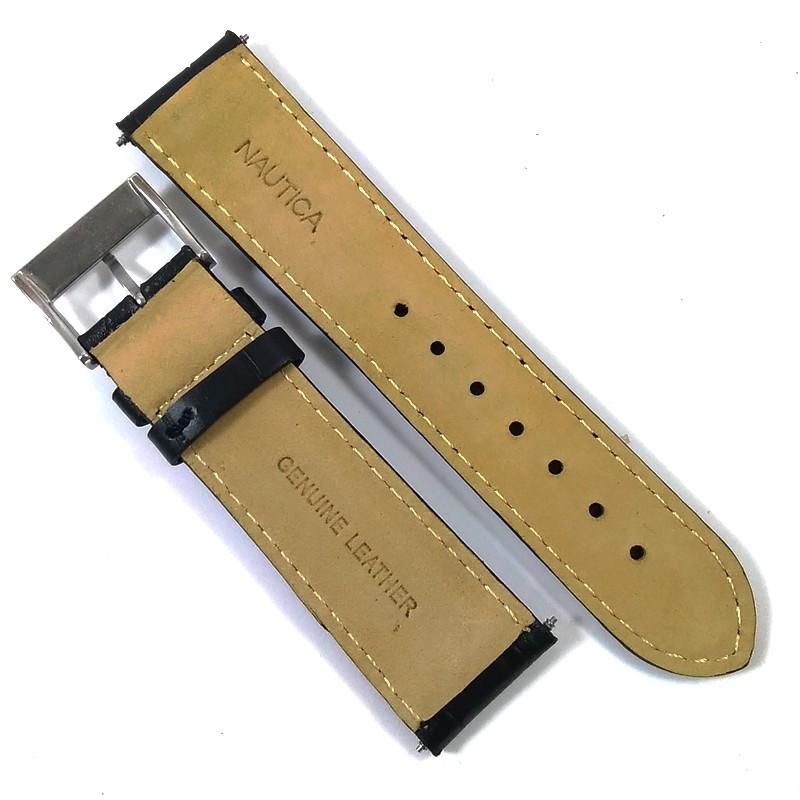 Pulseira De Couro Legítimo Estilo Jacaré Preta 22mm Náutica 95012-5  - E-Presentes