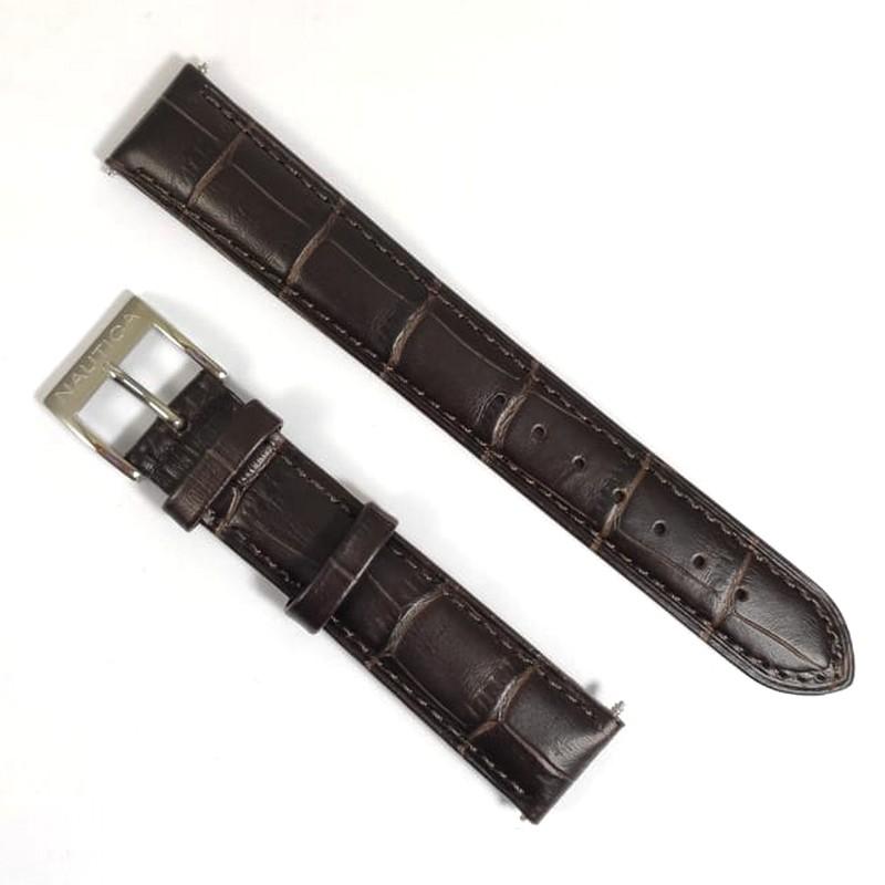 Pulseira De Couro Legítimo Marrom 18mm Náutica 95126-2  - E-Presentes