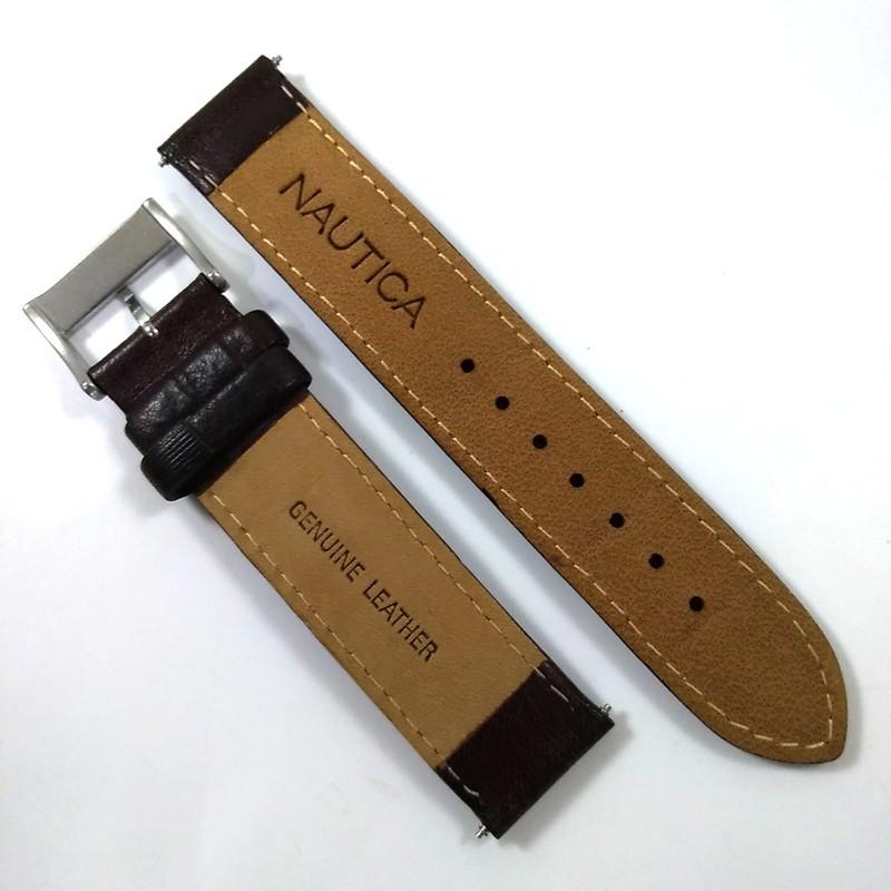 Pulseira De Couro Legítimo Marrom 19mm Náutica 95067-3  - E-Presentes