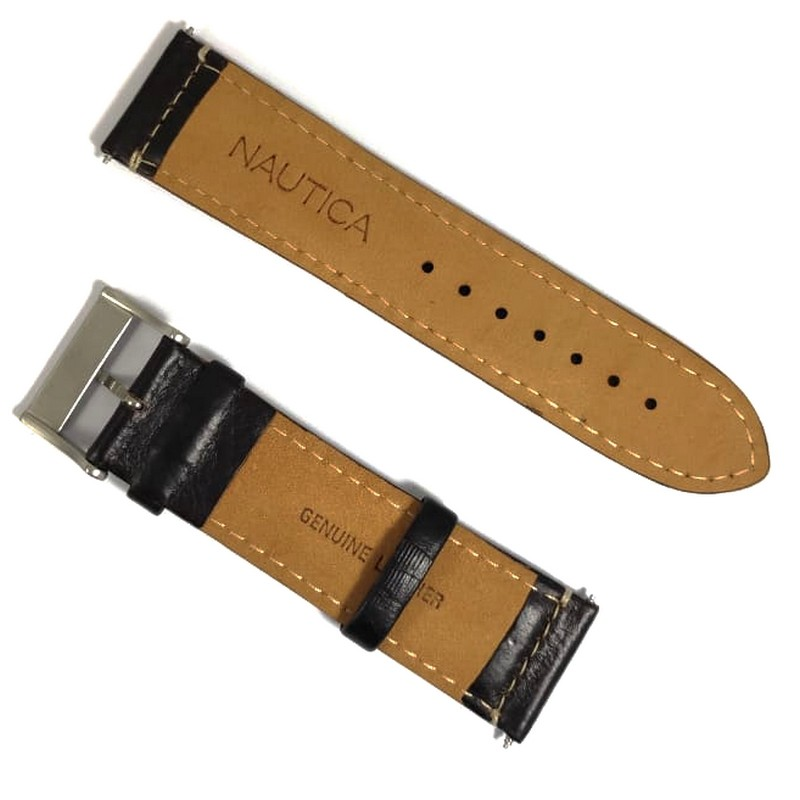 Pulseira De Couro Legítimo Marrom Escuro 24mm Náutica 95083-1  - E-Presentes