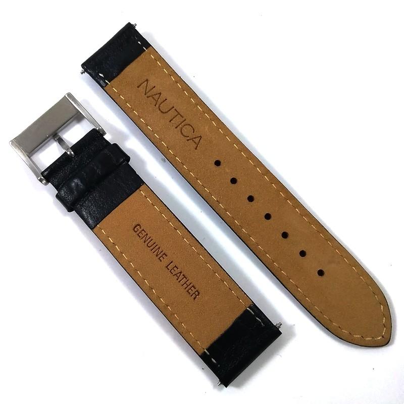 Pulseira De Couro Legítimo Preta 20mm Náutica 95067-1  - E-Presentes
