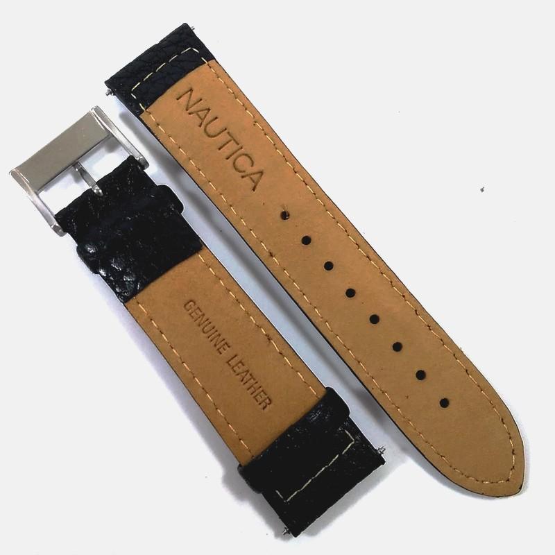 Pulseira De Couro Legítimo Preta 22mm Náutica 95006-1 A095956  - E-Presentes