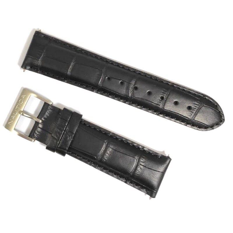 Pulseira De Couro Legítimo Preta 22mm Náutica 95013-4  - E-Presentes