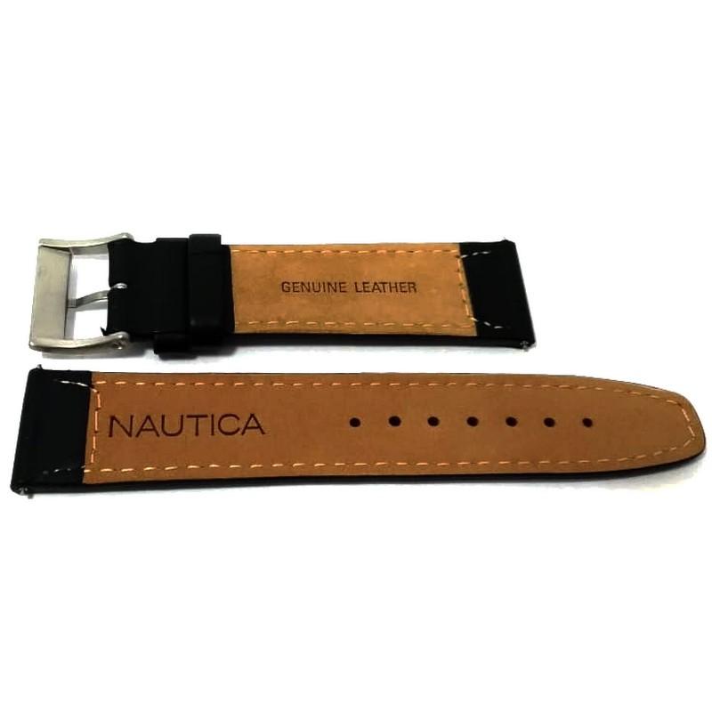 Pulseira De Couro Legítimo Preta 22mm Náutica 95021-3  - E-Presentes