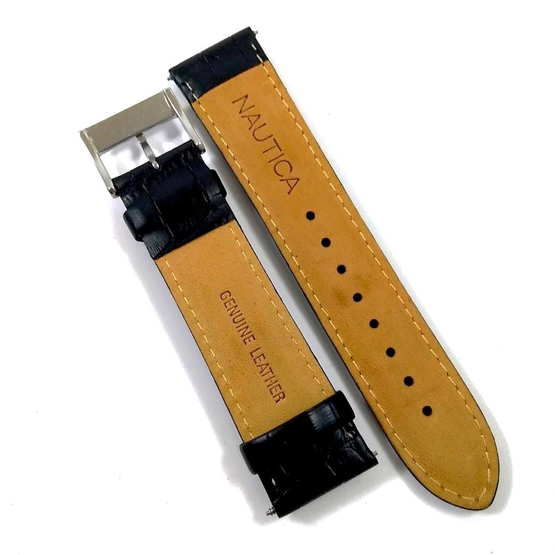 Pulseira De Couro Legítimo Preta 22mm Náutica 95038-1  - E-Presentes