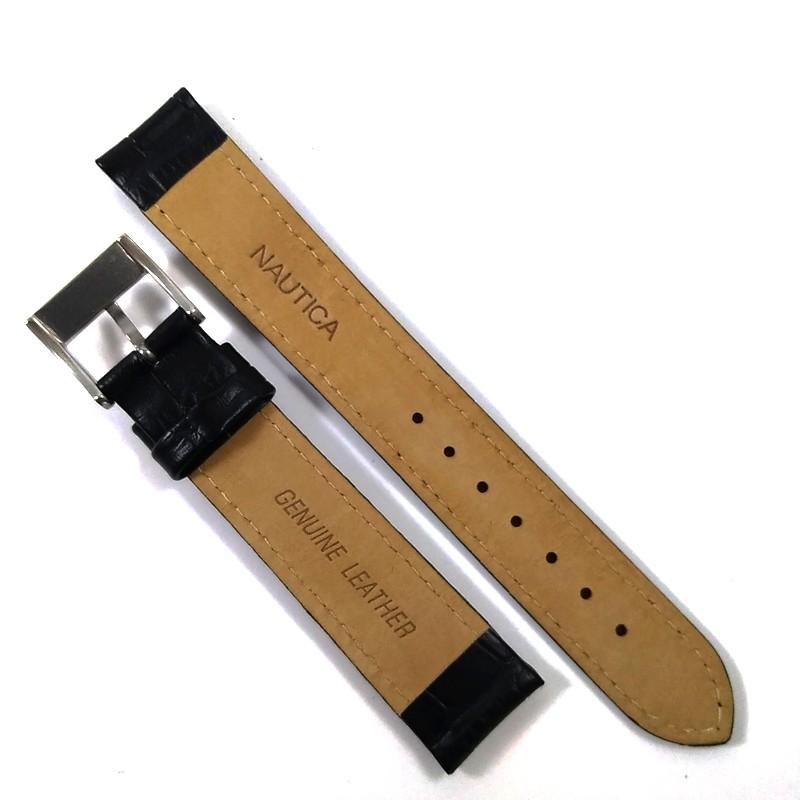 Pulseira De Couro Legítimo Preto 18mm Náutica 95074-6  - E-Presentes