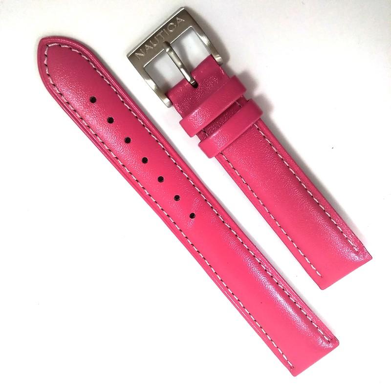 Pulseira De Couro Legítimo Rosa (Preta parte interna) 18mm Náutica 95074-5  - E-Presentes