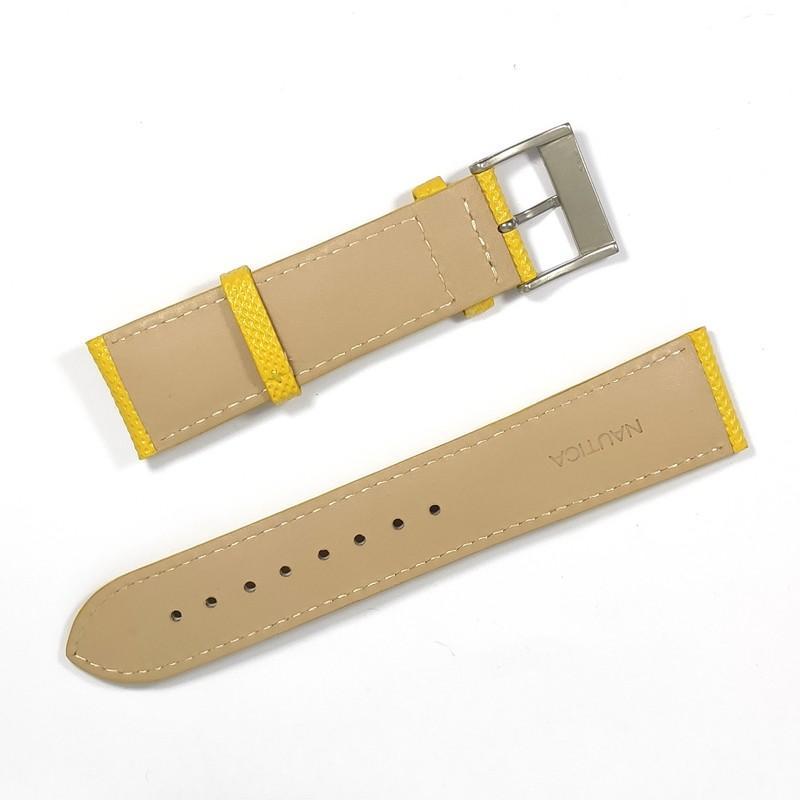 Pulseira De Nylon e Couro Amarela 22mm Náutica 95129-3  - E-Presentes