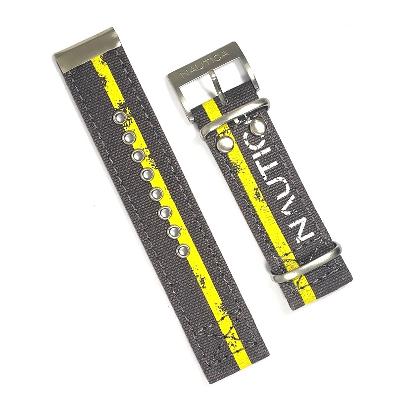 Pulseira De Nylon e Couro Marrom e Amarelo 22mm Náutica 95133-3  - E-Presentes