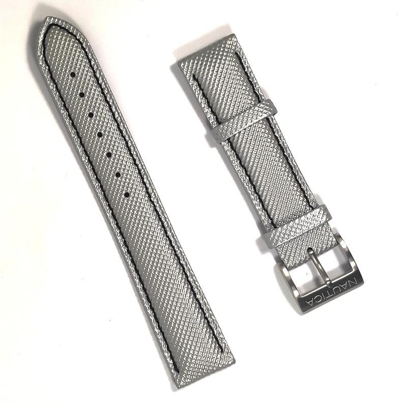 Pulseira De Nylon e Couro Prata 20mm Náutica 95066-1  - E-Presentes