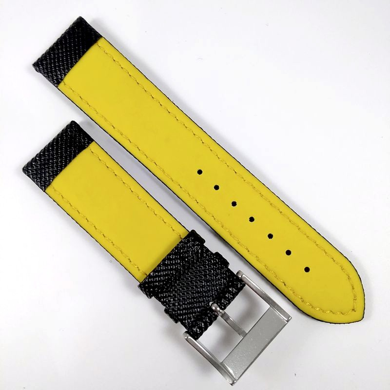Pulseira De Nylon e Couro Preta (Amarela parte interna)  22mm Náutica 95073-4  - E-Presentes
