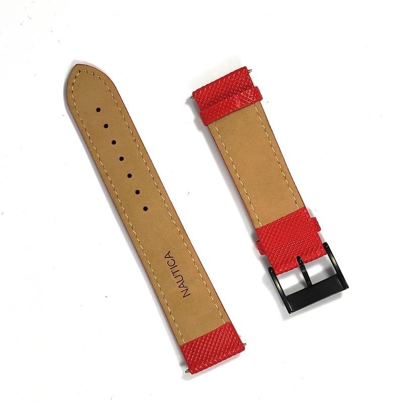 Pulseira De Nylon e Couro Vermelho 22mm Náutica 95115-2  - E-Presentes