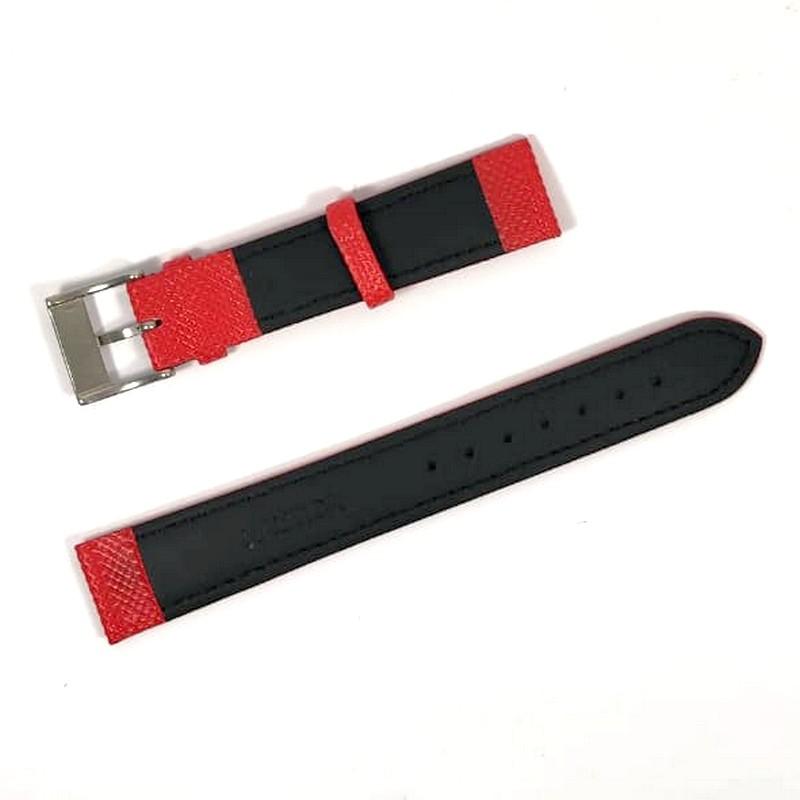 Pulseira De Nylon e Couro Vermelho (Parte interna Preta)  18mm Náutica 95074-4  - E-Presentes