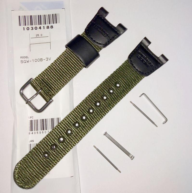 Pulseira de Nylon + Par de Clips  SGW-100B-3V  Verde Casio Outgear   - E-Presentes