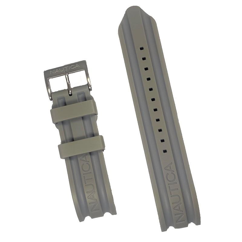 Pulseira De Resina Cinza 22mm Náutica 95108-8  - E-Presentes