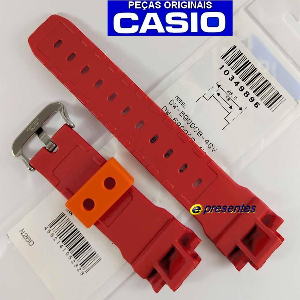 Pulseira DW-6900cb-4 Vermelho  Verniz Casio G-Shock  - E-Presentes