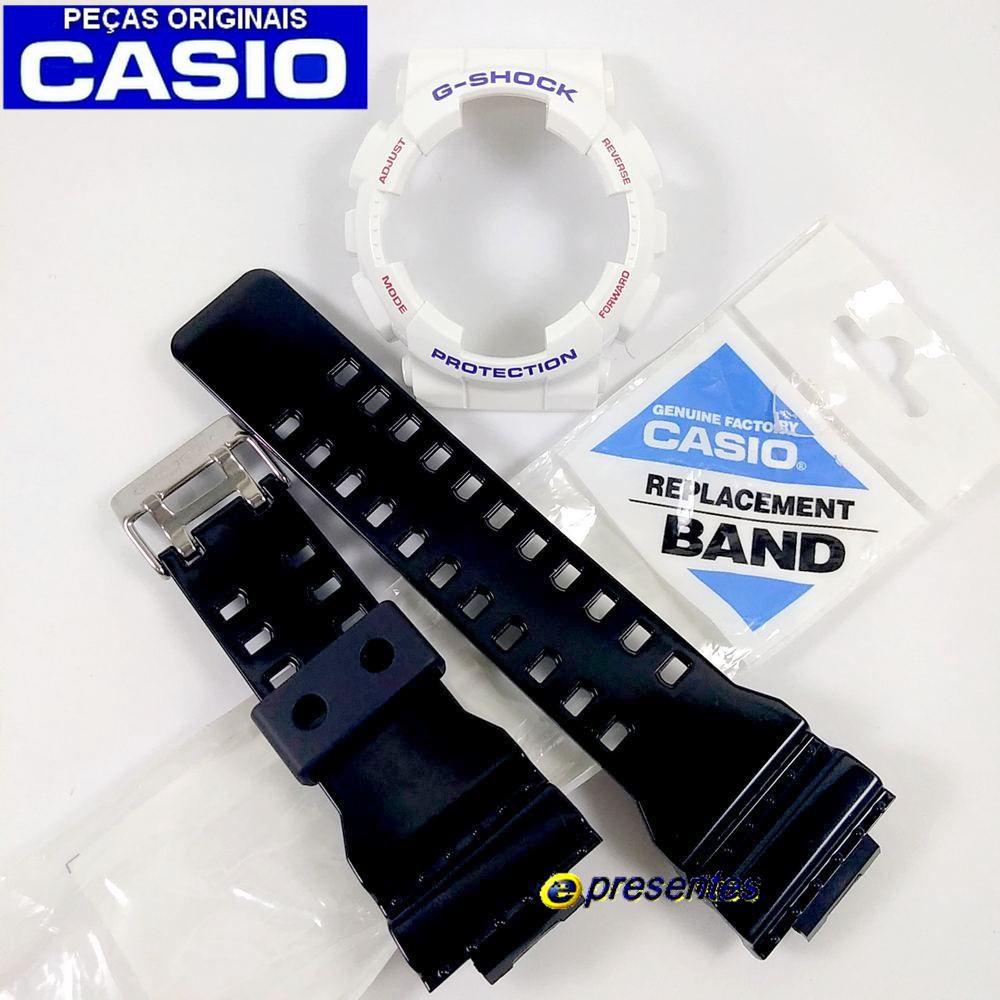 Pulseira e Bezel Casio G-shock GA-100CS-7A Branco Preto Originais  - E-Presentes