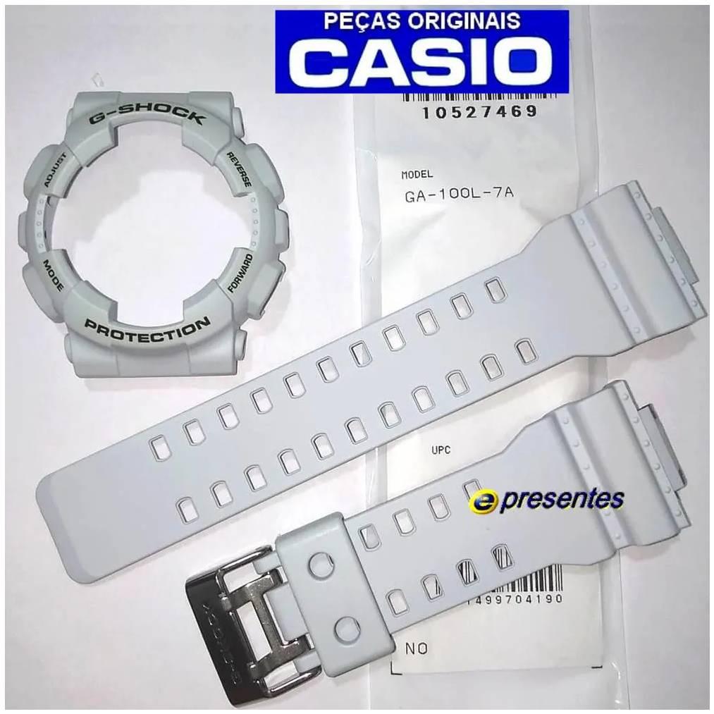 Pulseira e Bezel GA-100L-7A Casio G-shock Branco Acinzentado  - E-Presentes