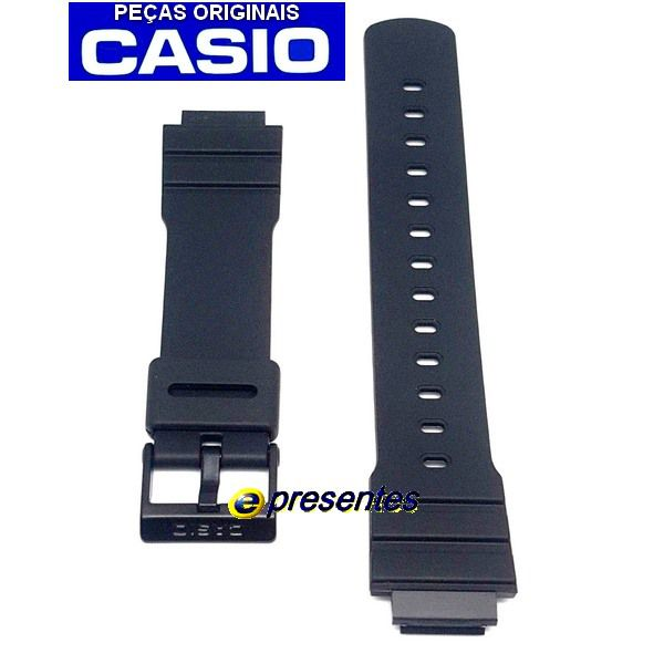 Pulseira Original Casio Resina Preta 23/16mm ARW-31 ARW-32 ARW-33 AW-20 AW-21U AW-305 MQW-100 NL-04  - E-Presentes