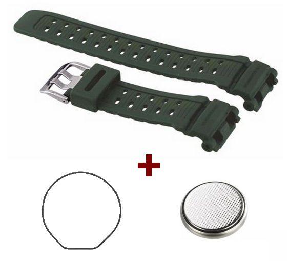 Pulseira Original + Vedação Traseira + Bateria G-9000 Casio Ghock Verde  - E-Presentes