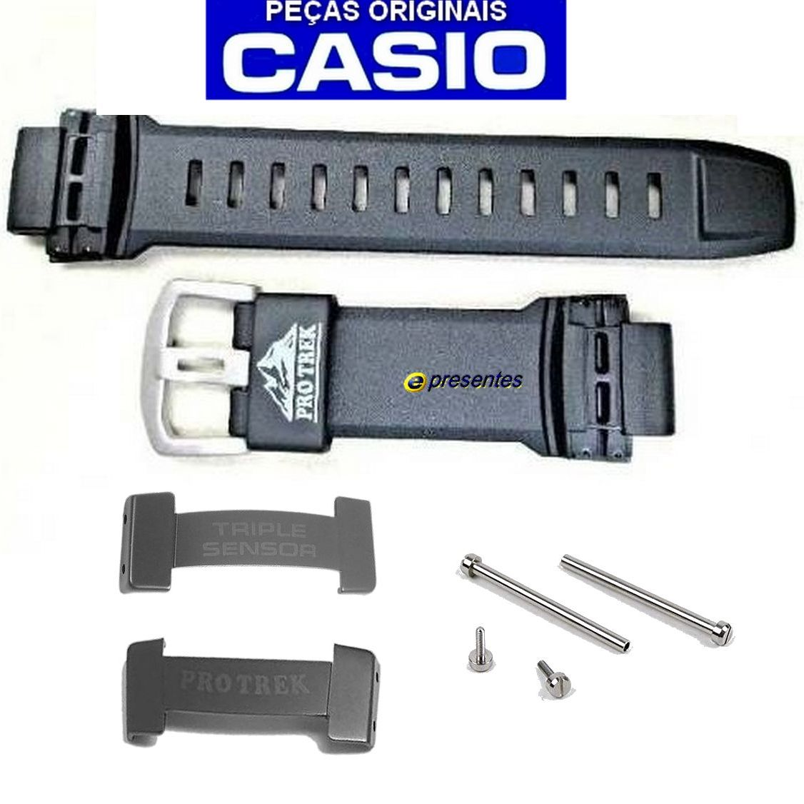 Pulseira + Pinos + End Links Casio0 Protrek PRG-250-1  - E-Presentes