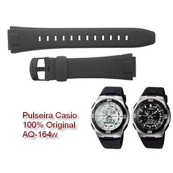 Pulseira + Pinos Retrateis Originais Casio AQ-164 Resina Preta  - E-Presentes