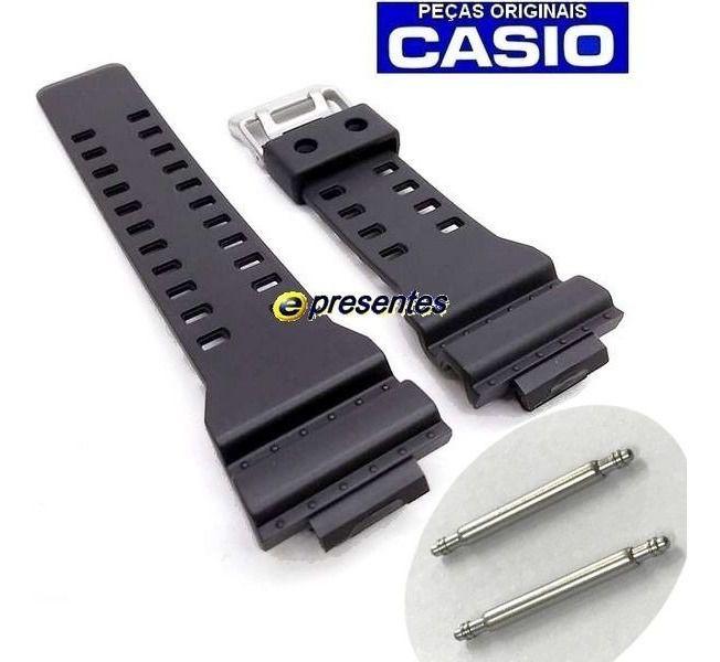 Pulseira Preto Fosco  + PAR de Pinos Retrateis GA-100 GA-110 GA-120 GA-300 G-8900 GD-8900 GR-8900 GW-8900 Casio G-shock   - E-Presentes