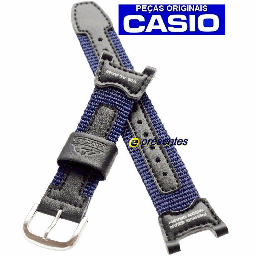 Pulseira PRS-400B-2 Nylon Azul e Couro Preto Casio Pathfinder Fishing Timer  *  - E-Presentes