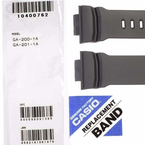 Pulseira Resina Preto Fosco  + Vidro Cristal Mineral Casio G-Shock GA-200-1A GA-201-1A   - E-Presentes
