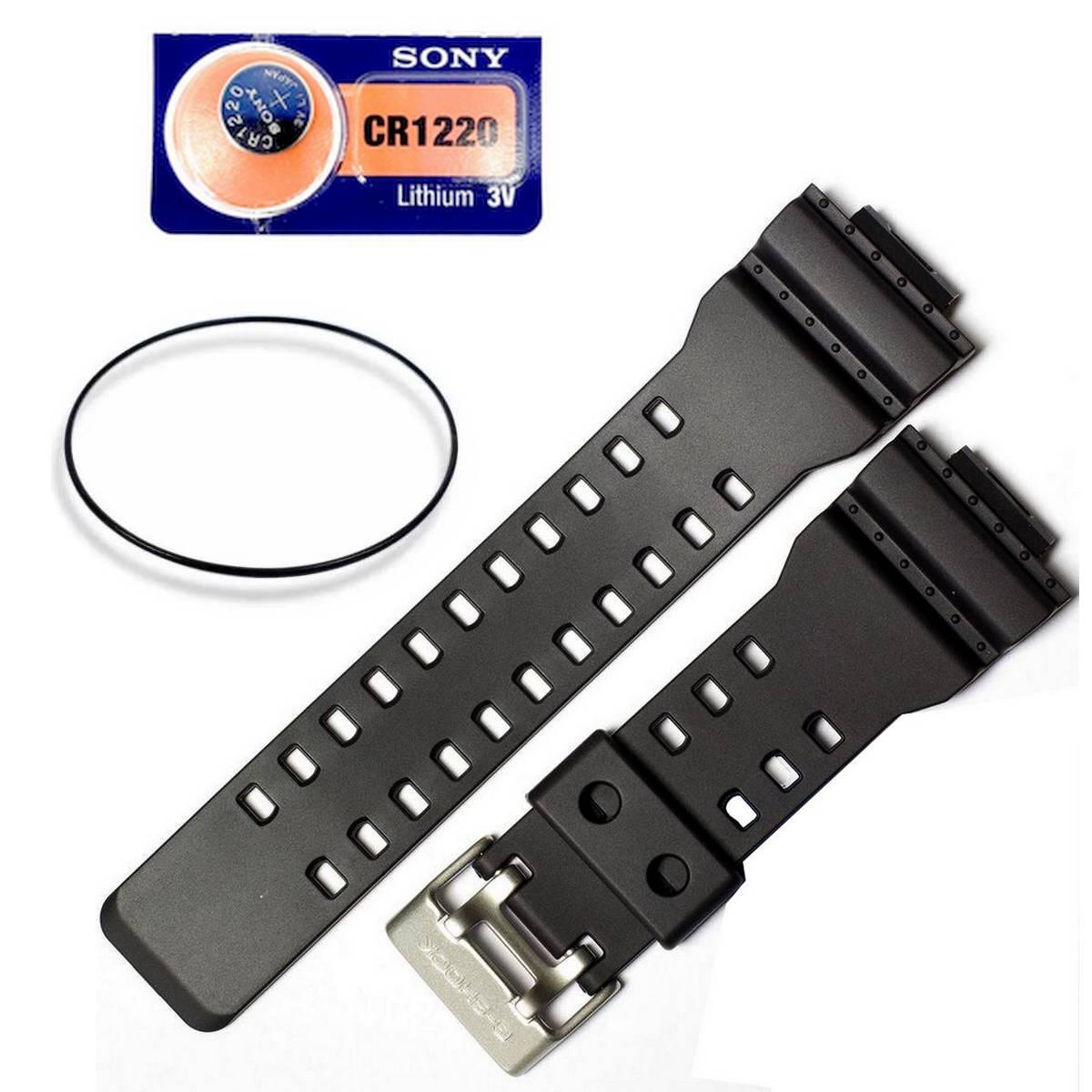 Pulseira + Vedação + Bateria  GA-100 GA-110 GA-120 Preto fosco  - E-Presentes