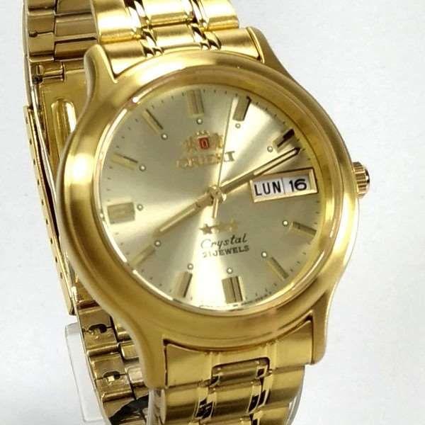 Relógio Automático Orient Dourado FAB05001C9 36mm 3estrelas  - E-Presentes