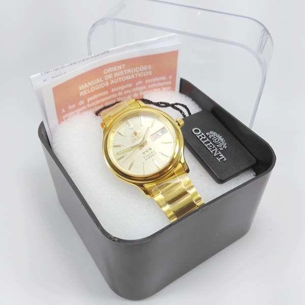 Relógio Automático Orient Dourado Fab05003c9 36mm 3estrelas  - E-Presentes